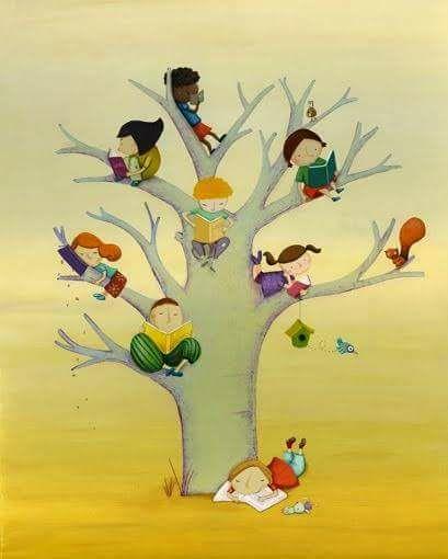 grande albero con bambini